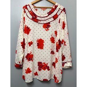 MODCLOTH Floral Polka Dot Long Sleeve Blouse